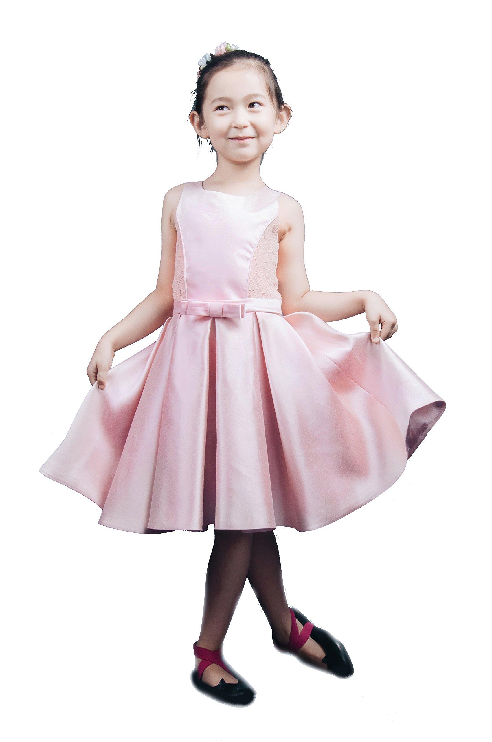 Saint Toi Lovely Mini Satin Flower Girl Princess Dress with Bow TLSCS-0014