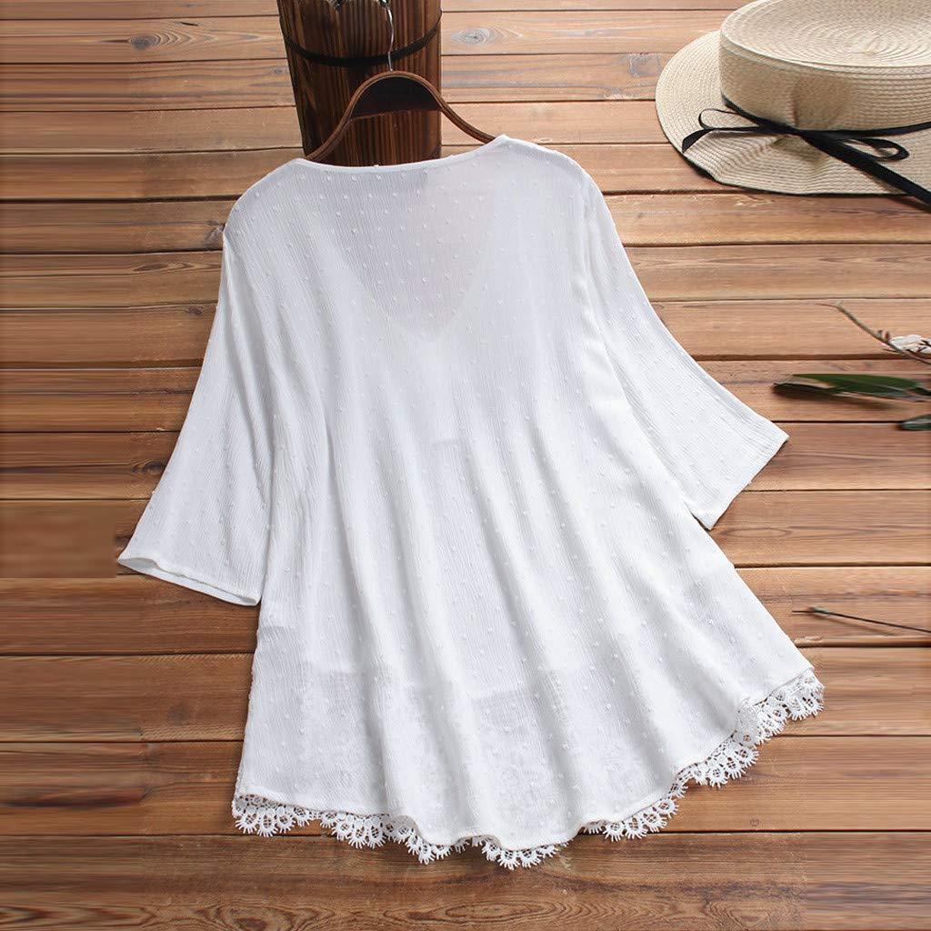 Longra Camicia Maglietta Scollo V da Donna in Pizzo Camicia Maniche Lunghe T-Shirt Estivo Causal Tops Camicetta da Donna Vintage Bikini Cover ups Taglie Forti Camicetta Bluse