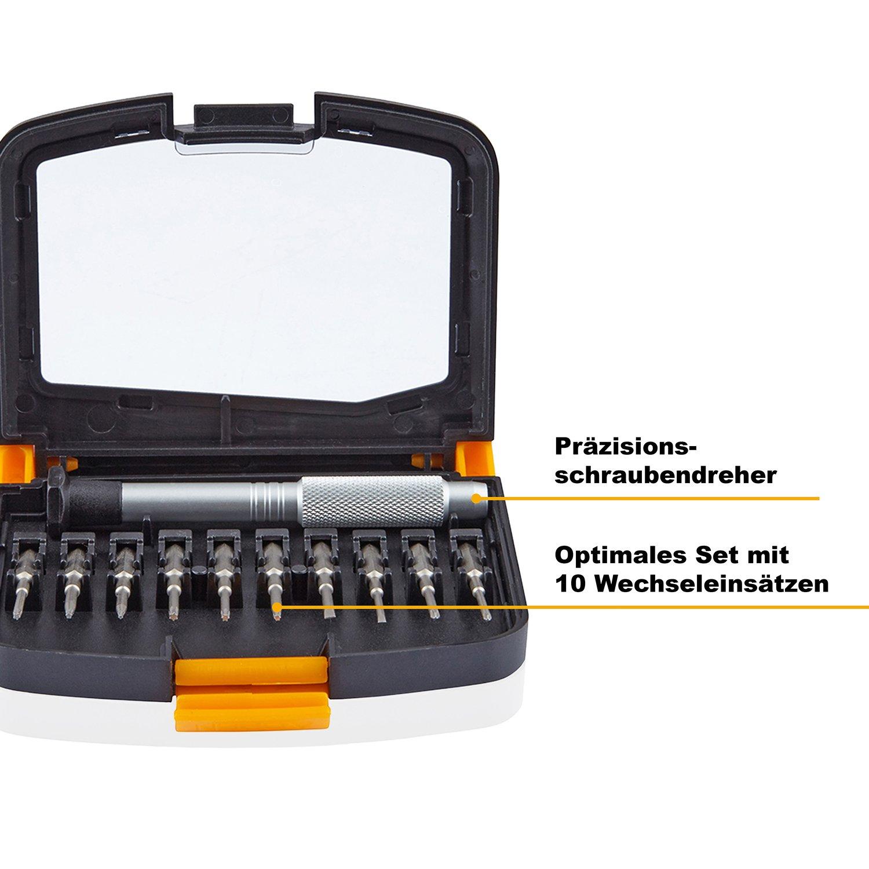 PRETEX Mini Schraubendreher-Set für kleine Schrauben mit 10 Wechsel-Einsätzen, inklusive praktischer Aufbewahrungsbox | 2 Jahre Zufriedenheitsgarantie | Bit-Set, Torque-Set, Kreuzschlitz-Set, Präzisions Mini-Schraubendreher