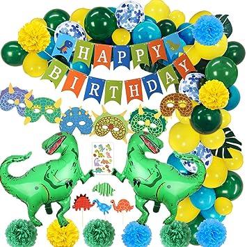 SPECOOL Decoraciones de Fiesta de Dinosaurio 3D - Dinosaurio de Estilo jurásico Mundial Happy Birthday Banner y Globos de Dinosaurio Set Favores de ...