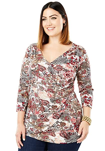 cc6c756eec0 Jessica London Women s Plus Size Surplice Tunic - Multi Tapestry ...