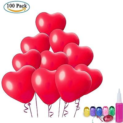 ZWOOS 100 PCS Coeur en Forme Latex Ballons avec des Rubans pour Mariage, Anniversaire, Fête et Anniversaire (Pompe de Ballon de Couleur Aléatoire)