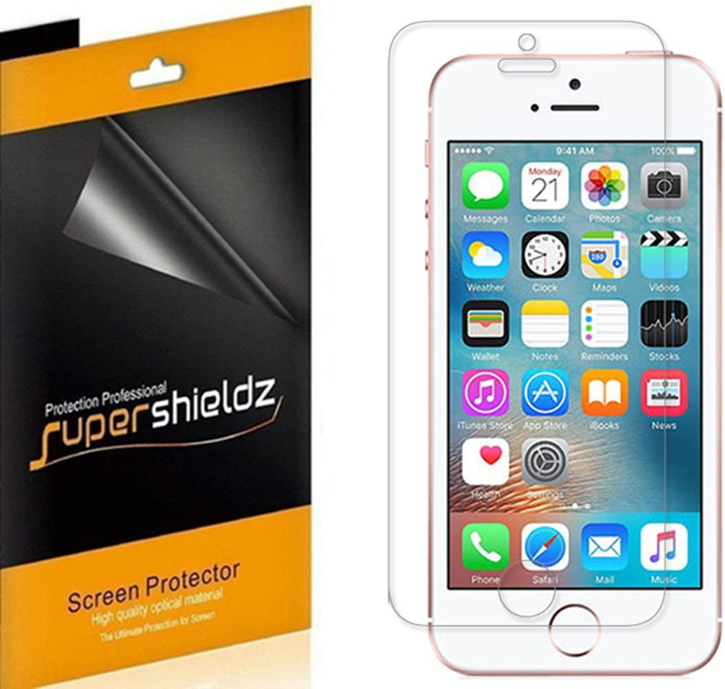 (6 Pack) Supershieldz Designed for iPhone SE (1st Gen, 2016 Edition), iPhone 5S, iPhone 5C, and iPhone 5 Screen Protector, High Definition Clear Shield (PET)