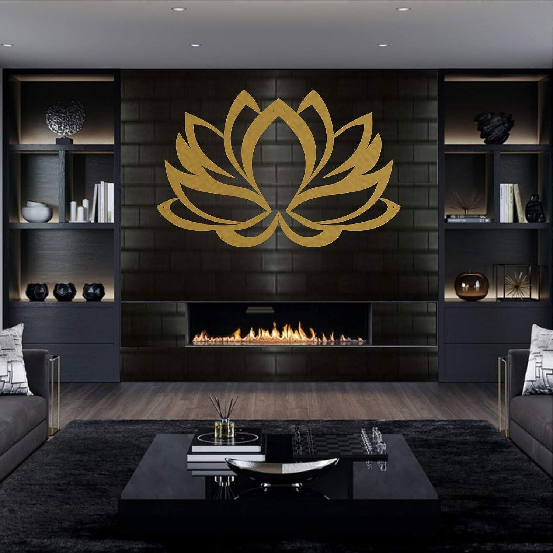 "Metal Wall Art, Metal Lotus Flower Art GOLD, Wall Silhouette, Metal Wall Decor, Home Office Decoration Bedroom Living Room Decor, Wall Hangings (46""W x 30""H / 117x76 cm)"