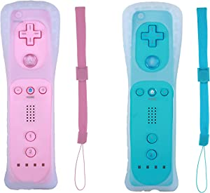 Donop 2 Packs Wireless Gesture Controller Compatible for Wii Wii U Console (Pink and Blue)
