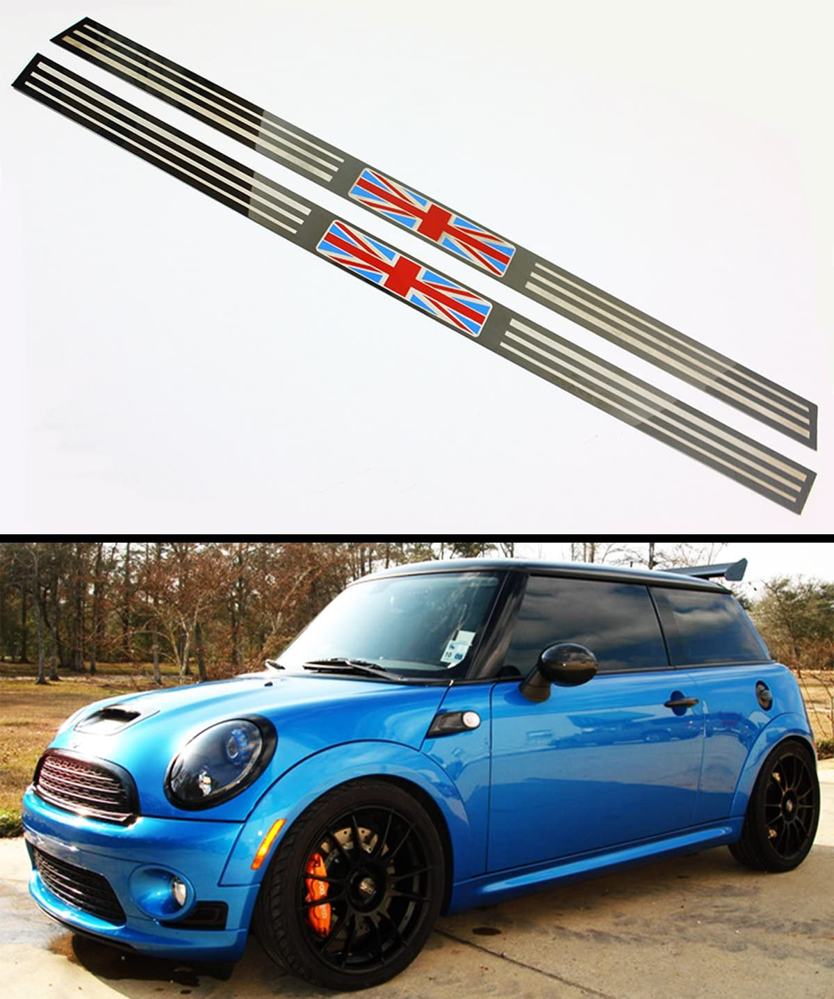 Car Door Sill Scuff Plate Guard Sills Protector Trim Carbon Fiber Stickers+Red High Intensity Reflective Tape For 2007-2012 MINI Cooper 4pcs