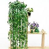 FUNCOCO 94IN Artificial Ivy Leaf Garland Plants Vine Fake Foliage Flowers Home Decor Plastic Flower Rattan Evergreen Cirrus