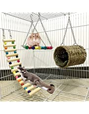 Ewolee Hamster Hanging Toy, 3 Piece Wooden Hammock Swing Climbing Ladder House Nest Toys, Small Animal Chew Toys for Guinea Pigs Chinchilla Hamster Mice Parrots