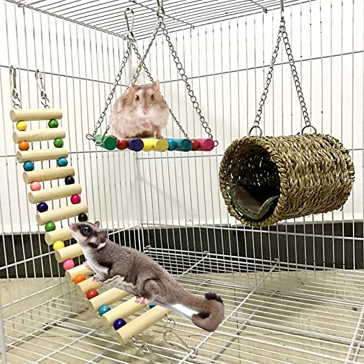 Woais Hanging Net Bird Toy Hamster Climbing Ladder Swing Rope Small Animal Training Pet Supplies