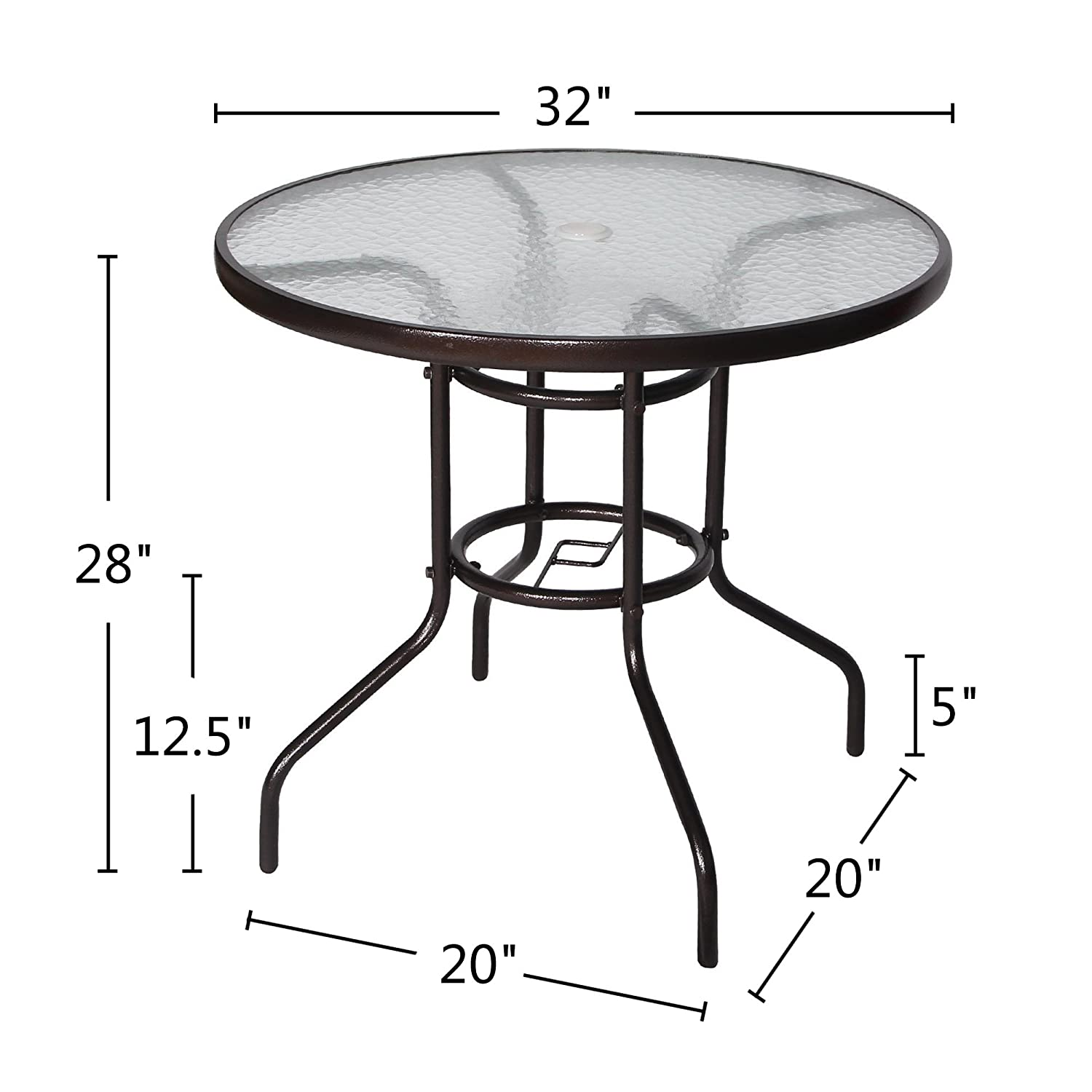 Cloud mountain 32 outdoor dining table patio tempered glass table patio bistro table top umbrella stand round table deck garden home furniture table