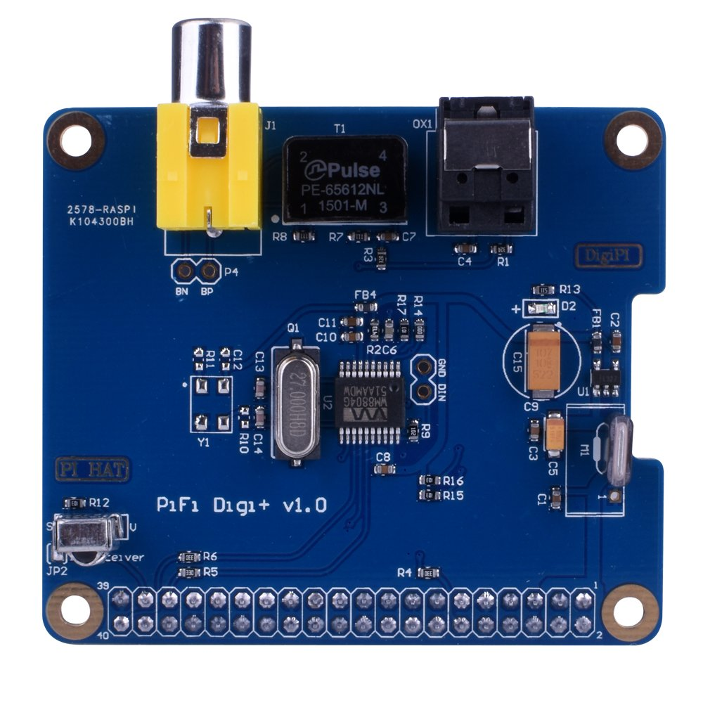 Kuman SC07C HiFi Digi+ Digital Sound Card I2S SPDIF Optical Fiber + Protective Acrylic Case for Raspberry pi 3 2 Model B B+ SC07C-Sound-UK