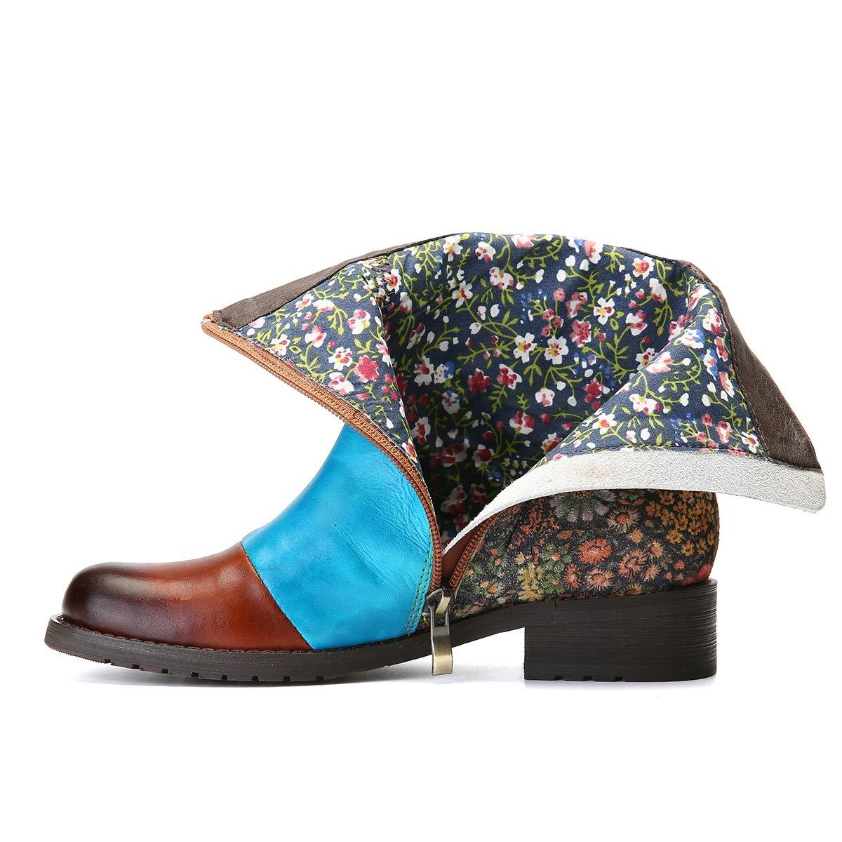 77ae9652b108e1 Camfosy Bottines Cuir Plates Femmes, Chaussures de Ville Hiver à Talons  Plats Bloc Moyens Boots avec ...