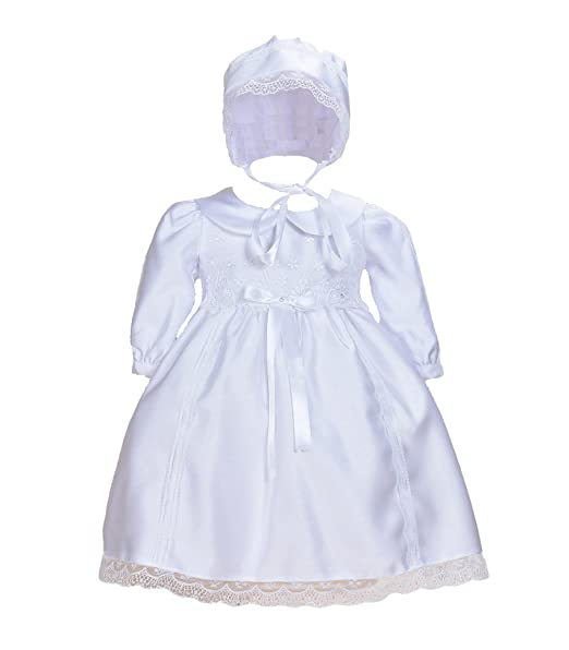 Cinda Bebé blanco satinado manga larga vestido de bautizo con capó Blanco 0-3 Meses
