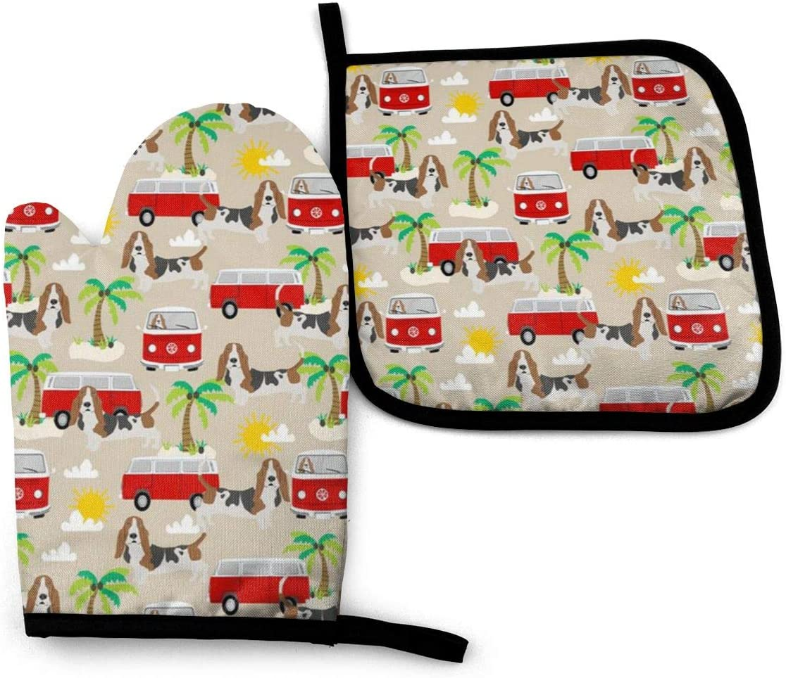 VGFJHNDF Basset Hound Dog Summer Bus Palm Trees Oven Mitts and Pot Holders,Resistant Hot Pads with Polyester Non-Slip BBQ Gloves for Kitchen,Cooking,Baking,Grilling