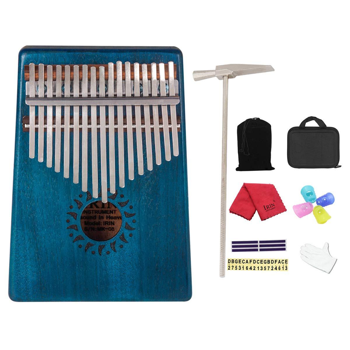 17 KeysKalimba,Mahogany Wood Thumb Piano with Kalimba Protective Case,Tuning Hammer,Carry Bag,Gloves,Finger Stall,Stickers,Cleaning cloth