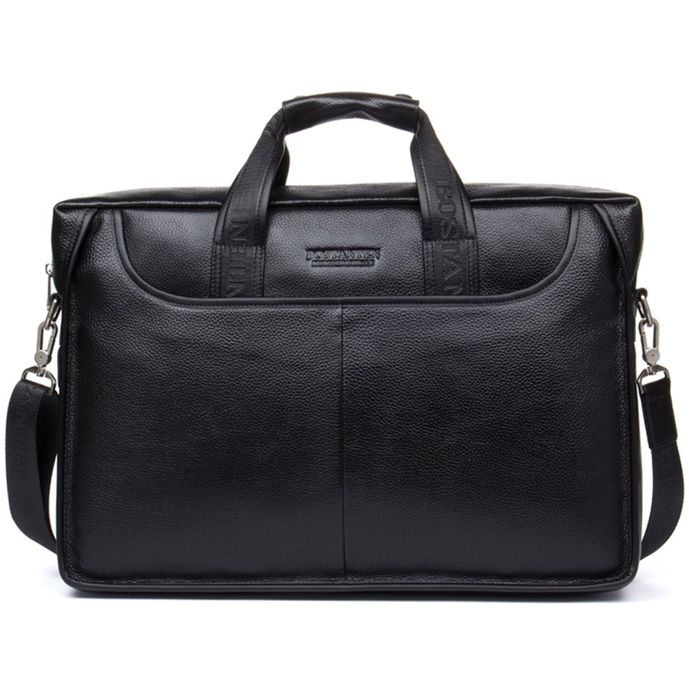 BOSTANTEN Leather Lawyers Briefcase Laptop Messenger Business Bags for Men Black