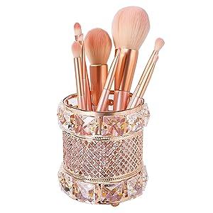 Crystal Jewelry Box Beads Trinket Box Organizer Ring Mirror Dresser Home Decor Earring Box (Gold)
