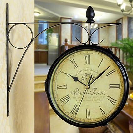 OIU Reloj vintage doble echó a un lado de la pared/Salón moda silenciado europeo