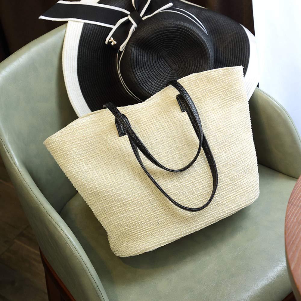 The new straw bag female shoulder bag beach travel bag. Beauty must go out. (Light white)