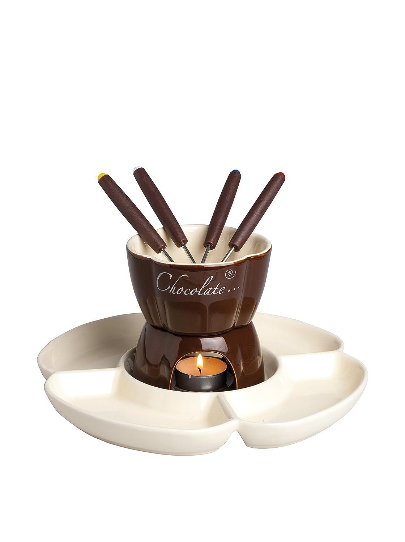 Excelsa 60285 Chocolate Servizio Fonduta Cioccolato 8 Pezzi, Ceramica, Marrone Bergamaschi & Vimercati 60285_Crema/Marrone