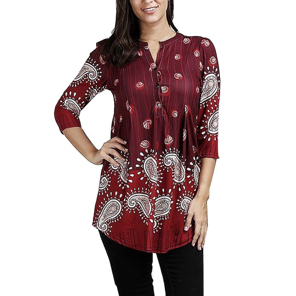 Blouse For Women-Clearance Sale,Farjing Three Quarter Sleeve Printing Casual Tops T-Shirt Loose Top Blouse(US:8/L,Red )