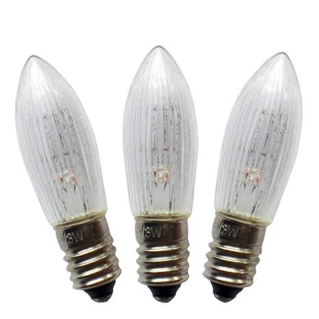 5 Stück 14V 3W Topkerzen f 16 Lichter INNEN Riffelkerzen Spitzkerzen E10 f