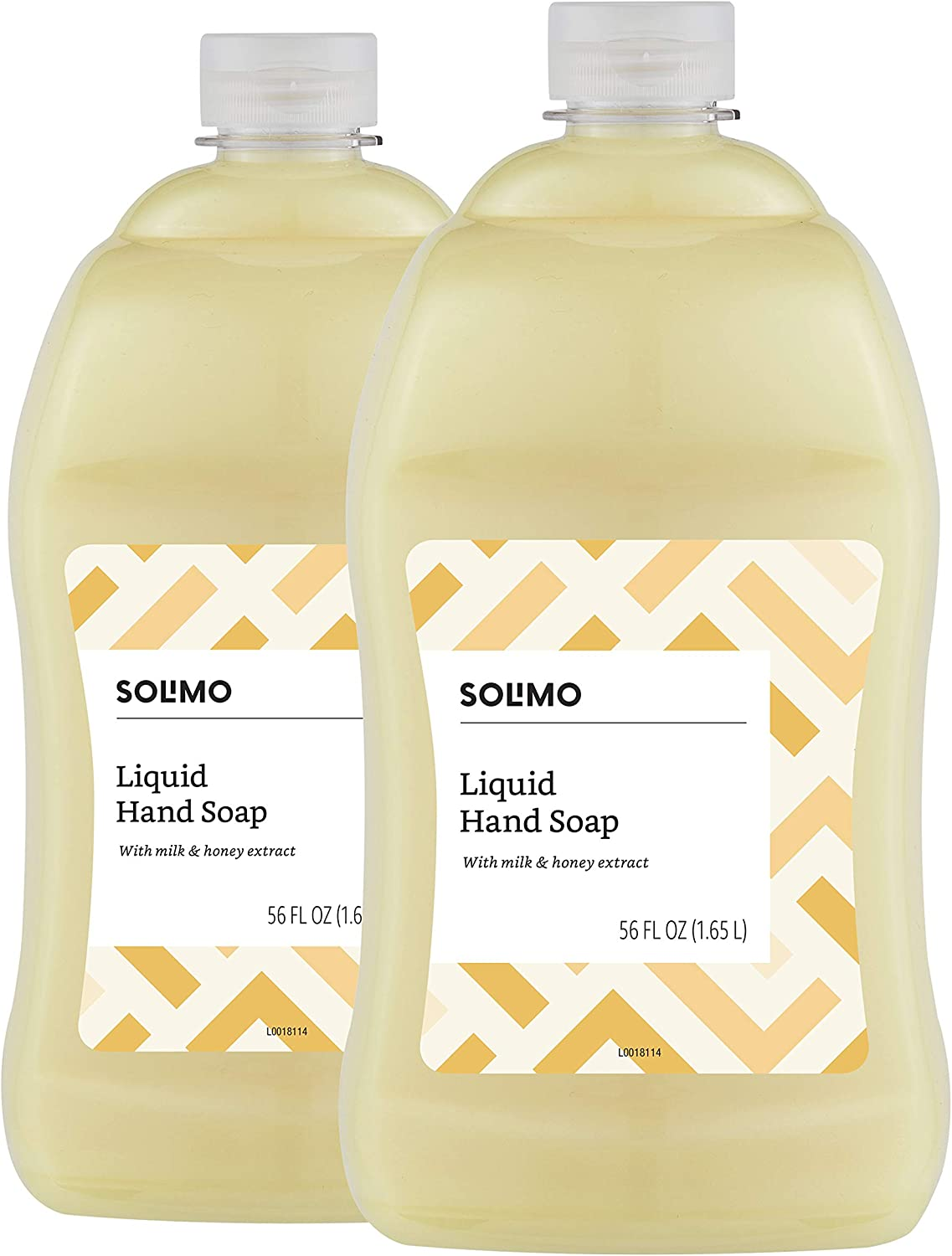 Brand - Solimo Liquid Hand Soap Refill, Milk and Honey Scent, Triclosan-Free, 56 Fluid Ounces, Pack of 2 : Health & Personal Care