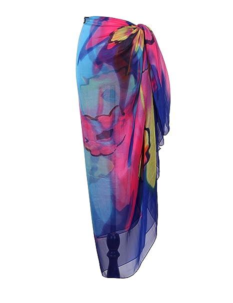 4663d70011 Yoimira Womens Chiffon Swimwear Sarong Pareo Plus Size Cover Ups Light  Breathable Bathing Suit Wrap .
