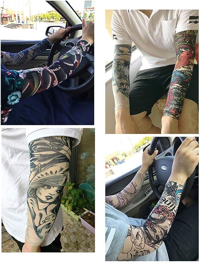 Xingsiyue Ensemble De Manchette Temporaire De Tattoo Stocking Faux Tatouages Manches Bras Glissement Homme Femme Stocking