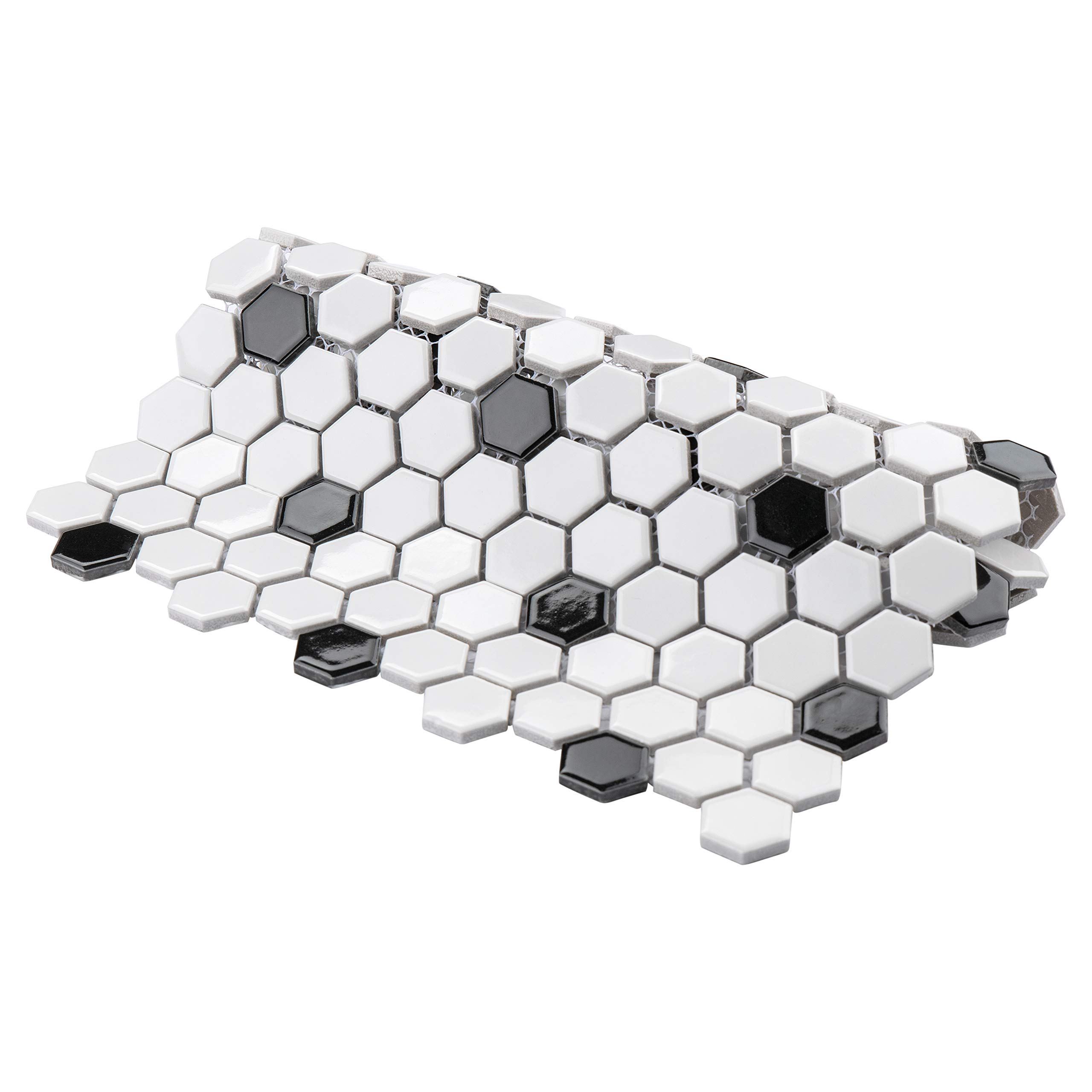 SomerTile FXLMHWBD Retro Hexagon Porcelain Mosaic Floor and Wall Tile, 10.25'' x 11.75'', White with Black Dot by SOMERTILE (Image #5)