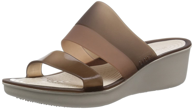 Crocs Women's Color Block W Wedge Sandal B00LUOYLF0 7 M US|Mahogany/Stucco
