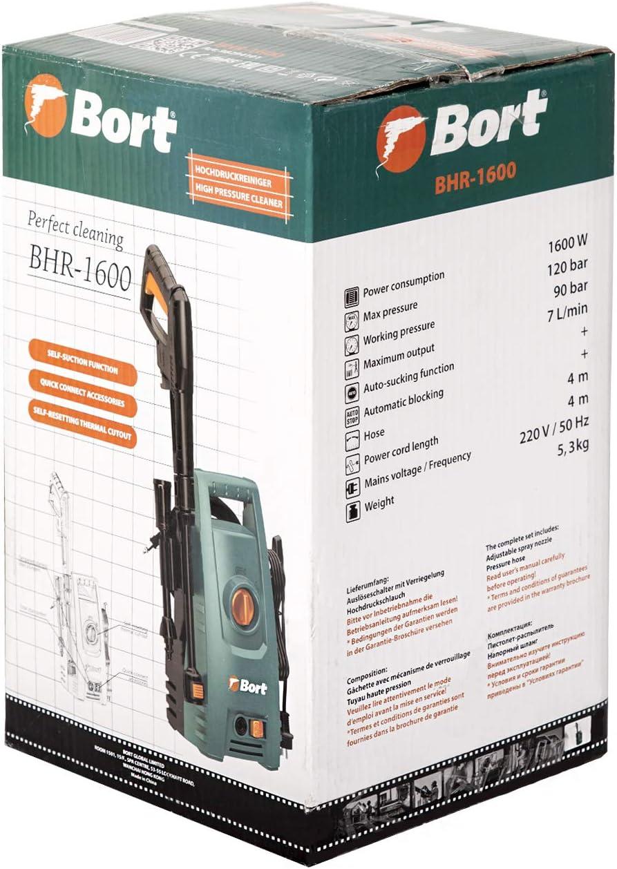 7 L//min 4m Schlauch 120 bar Hochdruckreiniger Bort BHR-1600 Quick Connect System zum schnellen Wechseln der Aufs/ätze 1600 Watt