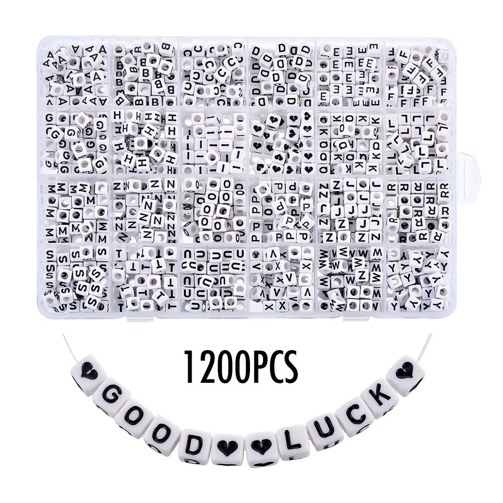 Heflashor 1200PCS Acrylic Letter Beads White Cube Letter Beads Alphabet Beads A-Z and Heart Beads for Jewelry Making/Bracelets/Necklaces/Kids 6 X 6mm by Heflashor