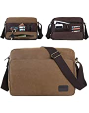 Eshow Men's Retro Canvas Multifunction Weekender Messenger Bag for Travel Crossbody Satchel Outdoor Sports Over Shoulder Vintage Military Overnight Casual Cross Body Side Beach Pack Bag