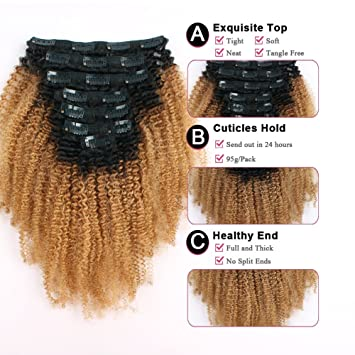Sassina Double Wefts Clip In Human Hair Extensions Afro Curly Style Natural Looking Ombre Natural Black
