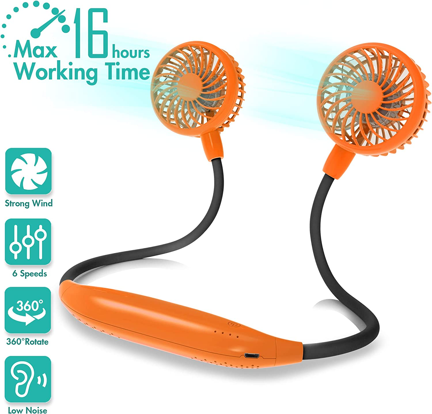 Portable Neck Fan, 2600mAh Battery Operated Ultra Quiet Hands Free USB Fan with 6 Speeds, Strong Wind, 360° Adjustable High Flexibility Wearable Personal Fan for Home Office Outdoor Travel (Orange)