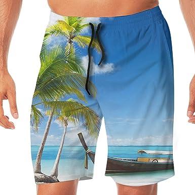 3afee7affc Palm Tree Boat Beach Ocean Sea Hawaiian Tropical Man's 3D Print Graphic  Quick Drying Board Shorts