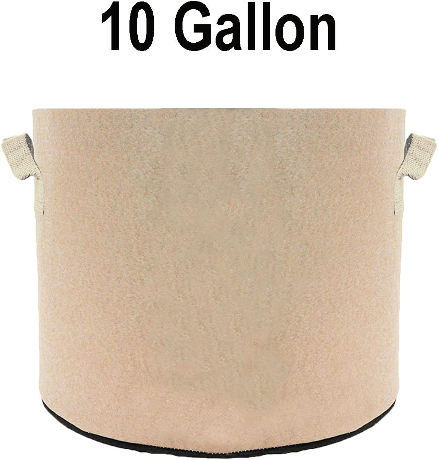 TopoGrow 6-Pack 10 Gallon Grow Bags Tan Fabric Round Aeration Pots Container for Nursery Garden and Planting Grow 10 Gallon, Tan 6-Pack