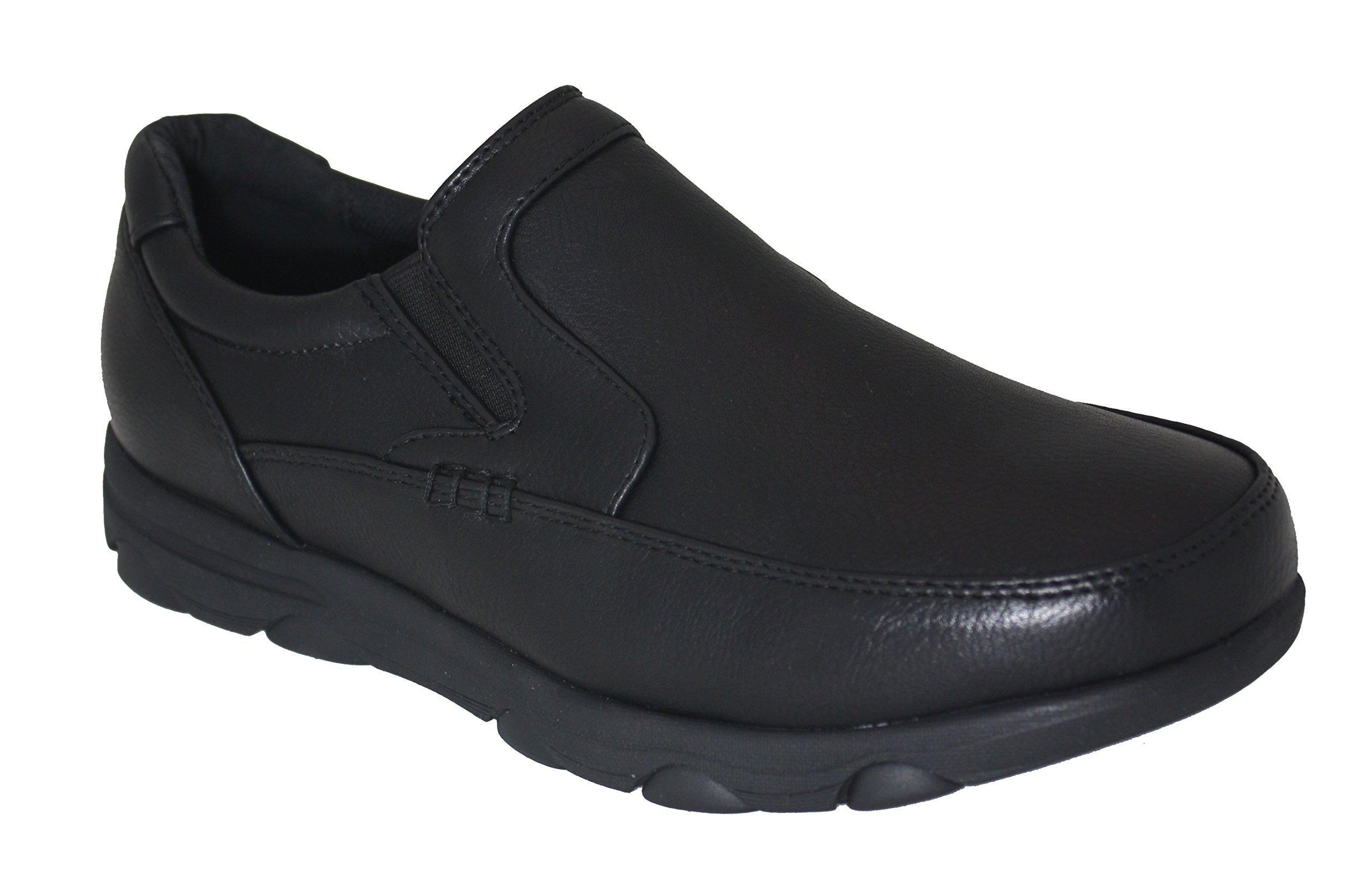 Gelato 8552 Moc Toe Slipon Slip & Oil Resistant Men's Comfort Work Shoe with Water & Stain Resistant Upper Black 7.5 D(M) US by Gelato