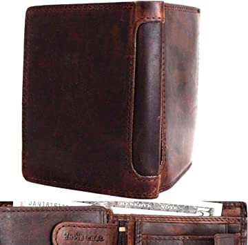 Genuine vintage natural leather men wallet credicards luxury card money brown