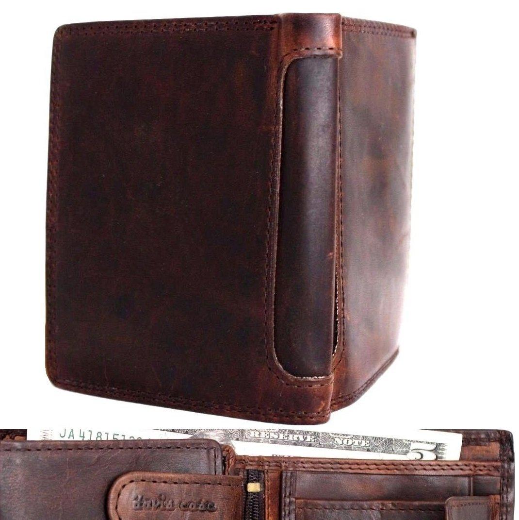 Men's Genuine Oiled Leather Wallet Vintage Italian Natural Skin Coin Money Pocket Purse Retro Style Luxury DavisCase by Davis