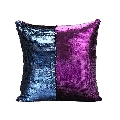 Homelavafans Fundas de Cojínes Fundas de Almohada DIY lentejuelas Invertida Dos Colores 40x40cm,Púrpura + Azul Oscuro