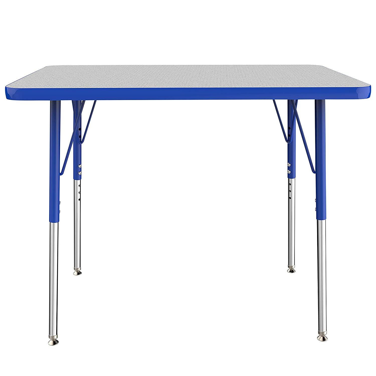 FDP Rectangle Activity School and Office Table (24 x 36 inch), Standard Legs with Swivel Glides, Adjustable Height 19-30 inches - Gray Top and Blue Edge
