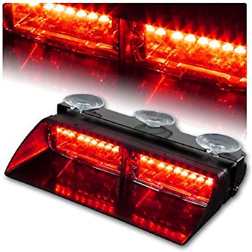 Interior Emergency Lights For Windshield w//Suction Cup 9 16W Red White LED Flashing Warning Strobe Dash Light for Volunteer Firefighter Vehicles
