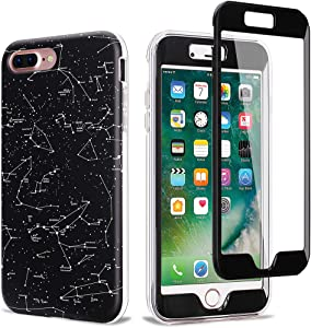 NASOUSA Full Body TPU Bumper Case with Built in Screen Protector for 5.5 inch iPhone 7 Plus(2016) and iPhone 8 Plus(2017)(Stars Constellation)