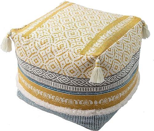 Boho Tufted Decorative Unstuffed Pouf