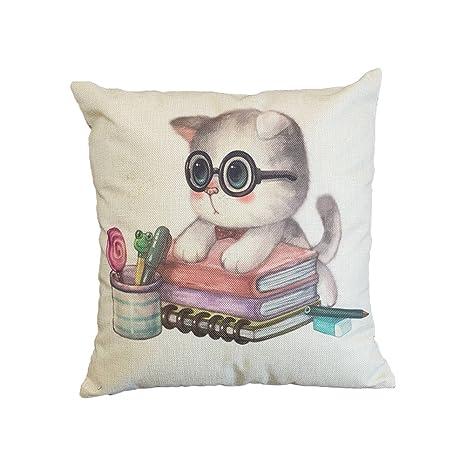 BIGBOBA Funda de Almohada de Lino de algodón Gato patrón sofá cojín Cubierta decoración cómoda Suave