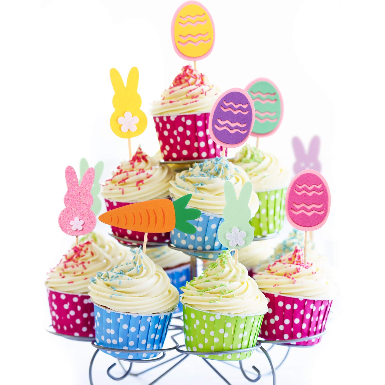 Blulu 34 Piezas de Toppers de Magdalena de Happy Easter Toppers de Tarta en Conejito Chick Huevo Zanahoria para Decoraci/ón de Pastel de Fiesta de Pascua
