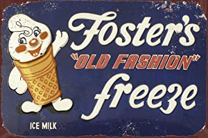 Jesiceny New Tin Sign Fosters Old Fashion Freeze Vintage Look Aluminum Metal Sign 8x12 Inches