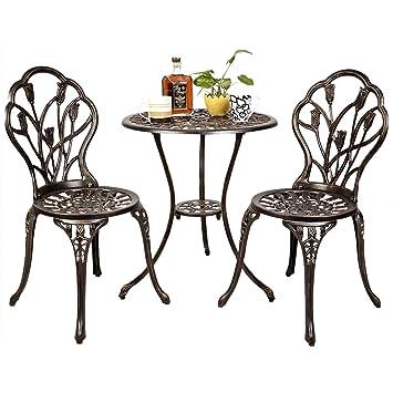 DREAMADE Ensemble Table et 2 Chaises de Jardin en Aluminium ...